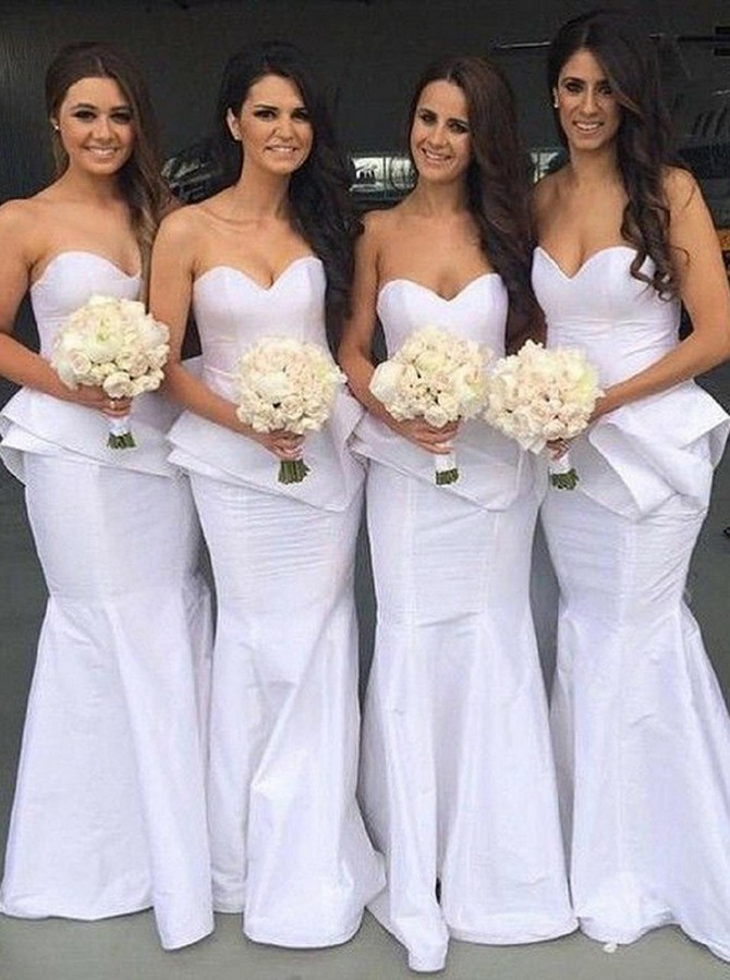 Mermaid Sweetheart Floor-Length White Bridesmaid Dress with Ruffles