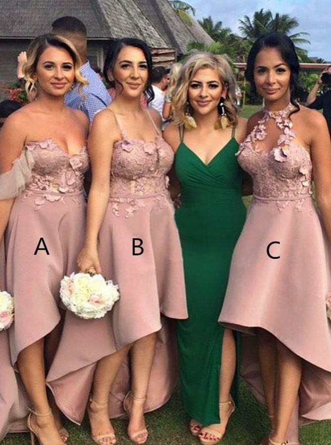 A-Line Off-the-Shoulder High Low Blush Bridesmaid Dress with Appliques