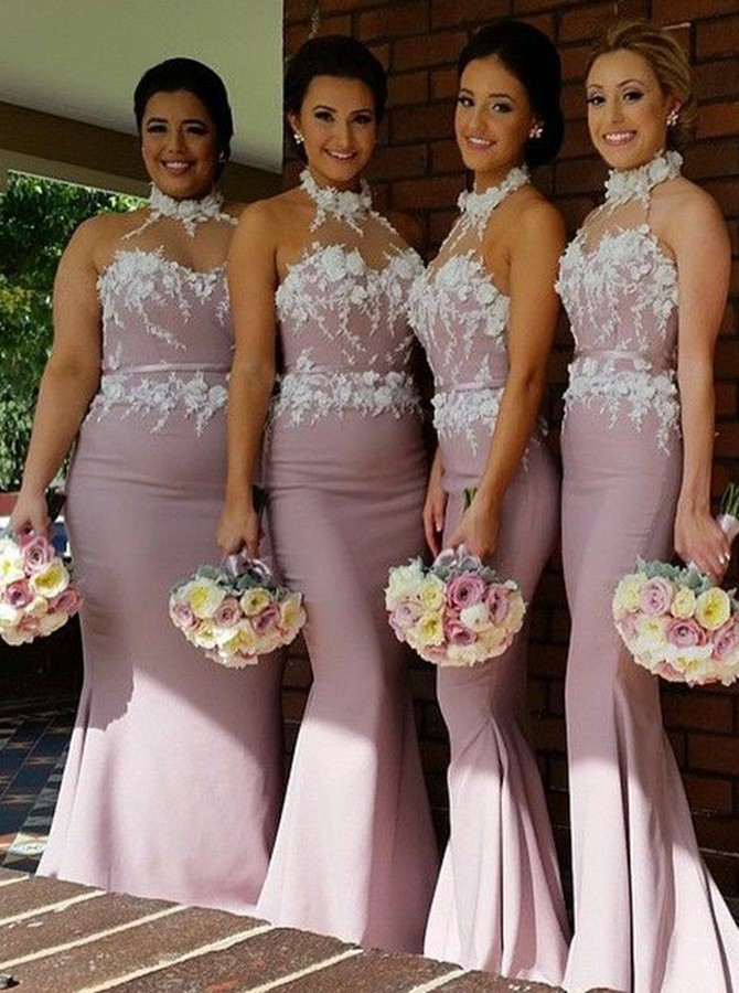 Mermaid Halter Backless Sweep Train Blush Bridesmaid Dress with Appliques