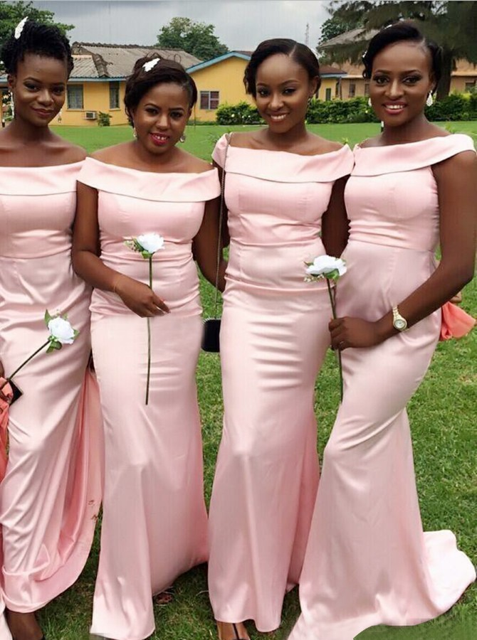 Mermaid Off-the-Shoulder Sweep Train Pink Bridesmaid Dress with Ruched