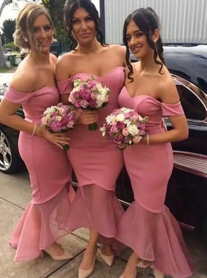 Mermaid Off-the-Shoulder High Low Watermelon Bridesmaid Dress with Ruched