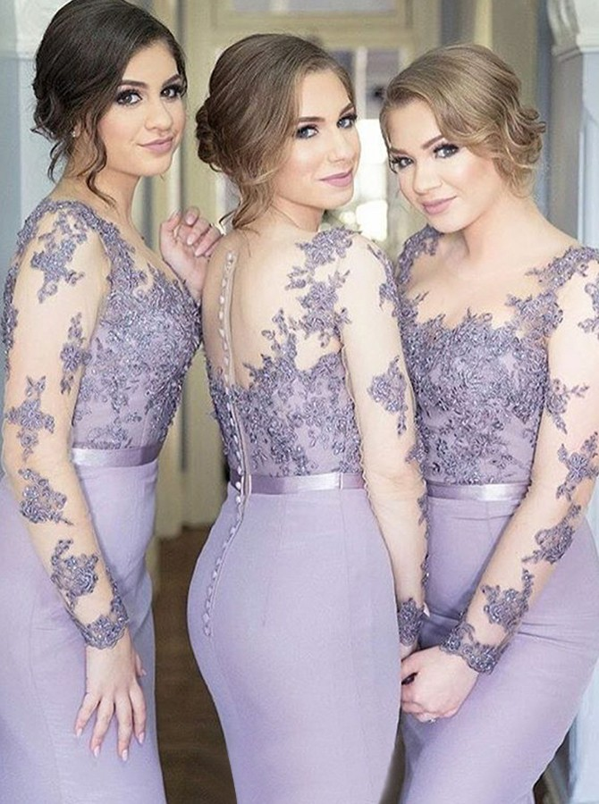 Mermaid Round Neck Long Sleeves Lilac Bridesmaid Dress with Appliques