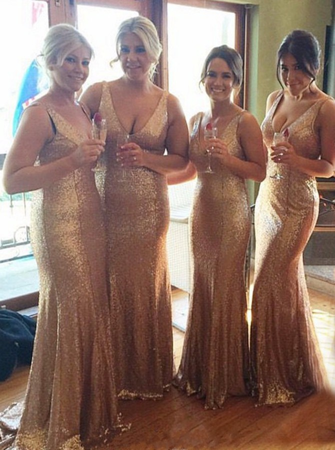 Mermaid V-Neck Sleeveless Sweep Train Gold Sequined Bridesmaid Dress
