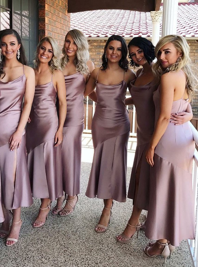 Sheath Spaghetti Straps Tea-Length Lilac Bridesmaid Dress with Split