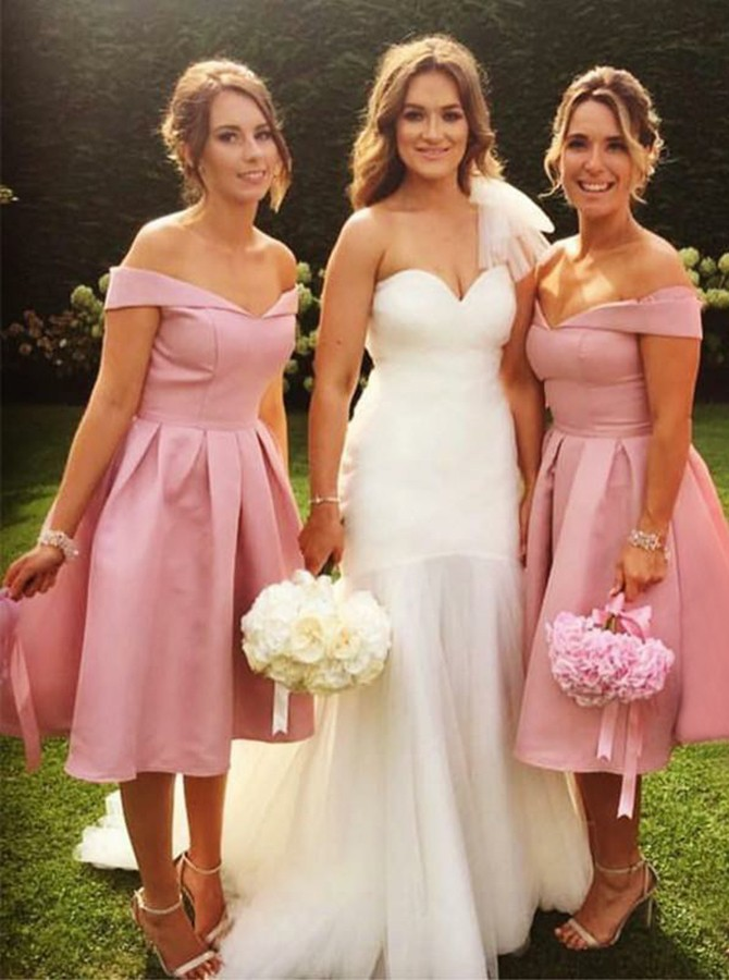 A-Line Off-the-Shoulder Mid-Calf Pink Bridesmaid Dress with Pleats