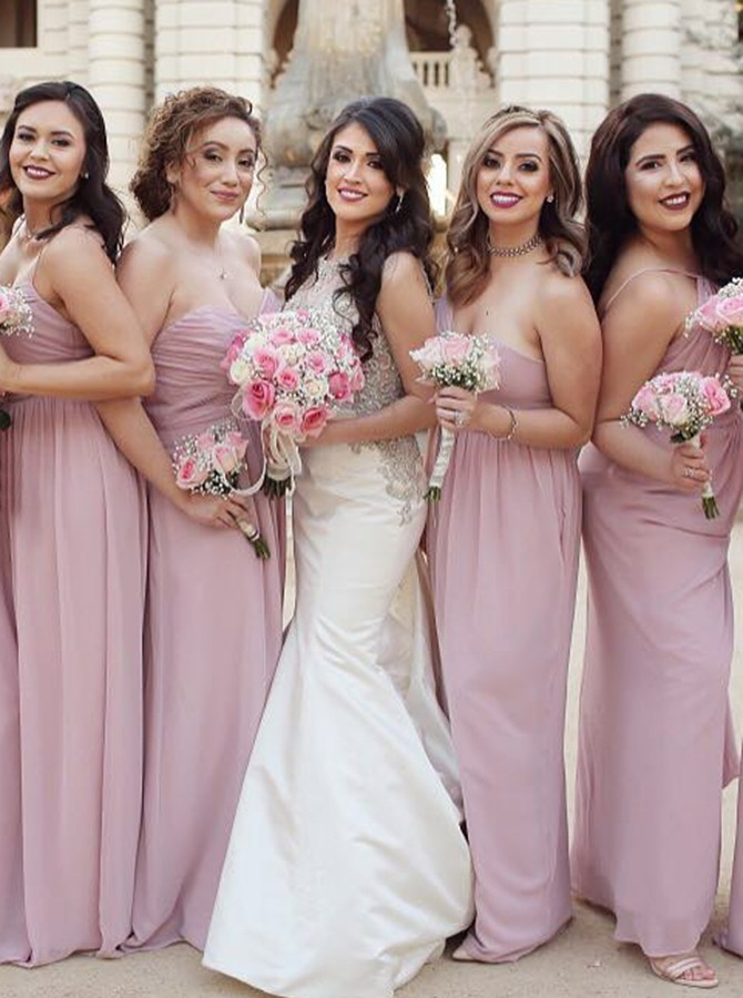Sheath One-Shoulder Backless Pink Chiffon Bridesmaid Dress with Ruched