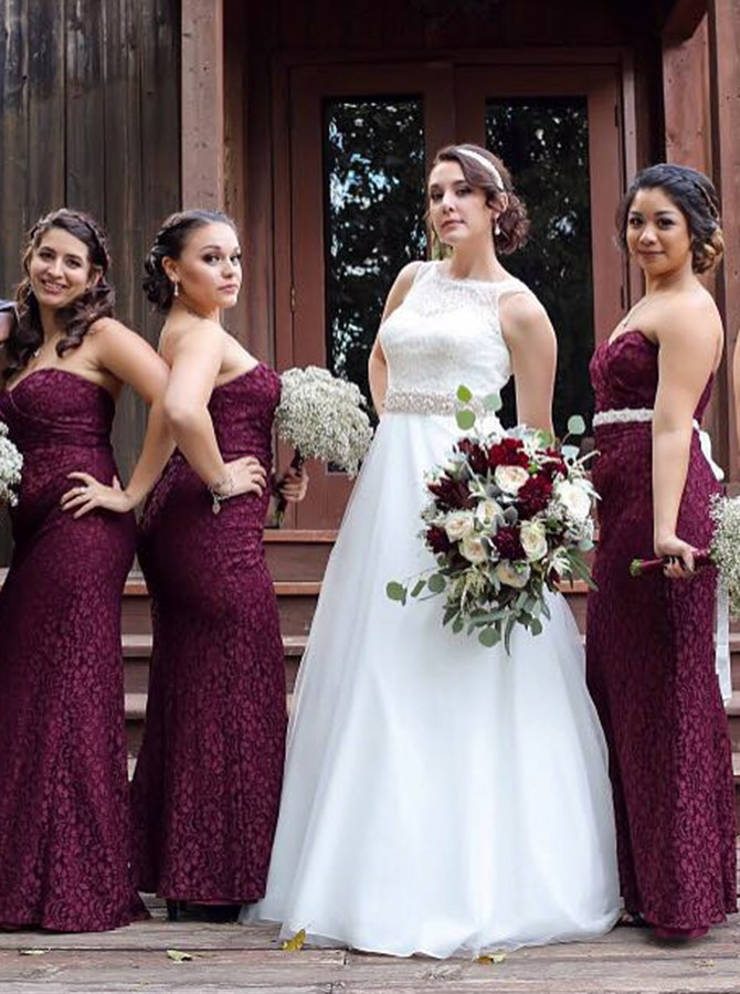 Sheath Sweetheart Backless Grape Lace Bridesmaid Dress with Ruched