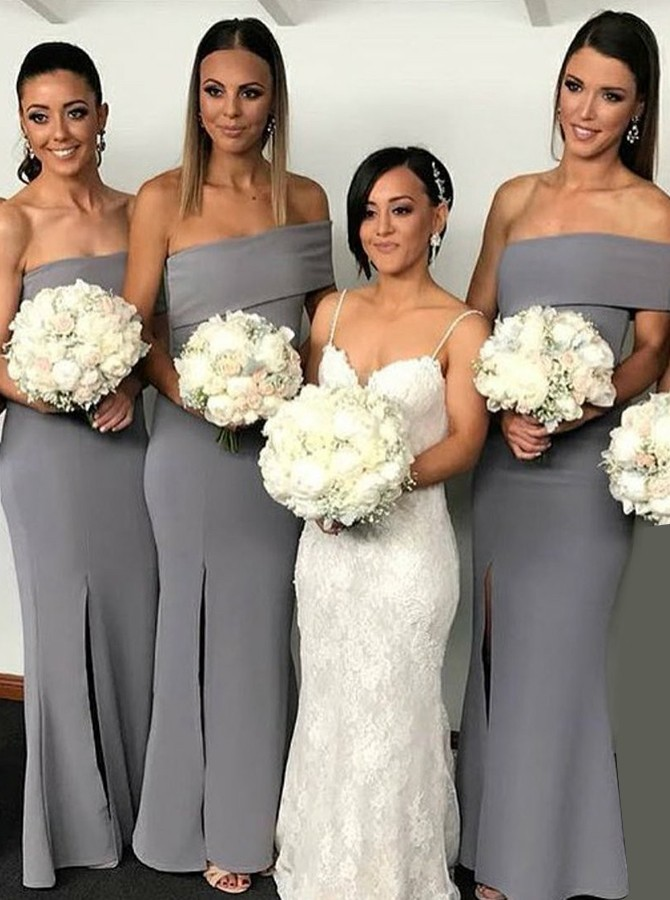 Mermaid Off-the-Shoulder Floor-Length Grey Bridesmaid Dress with Split