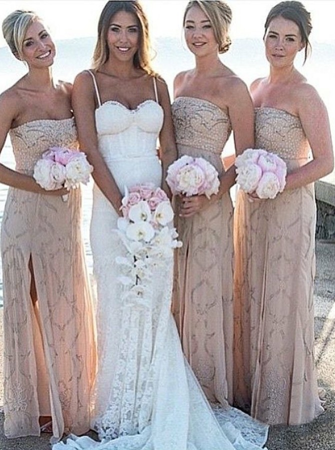 Sheath Strapless Backless Light Champagne Bridesmaid Dress with Split Beading