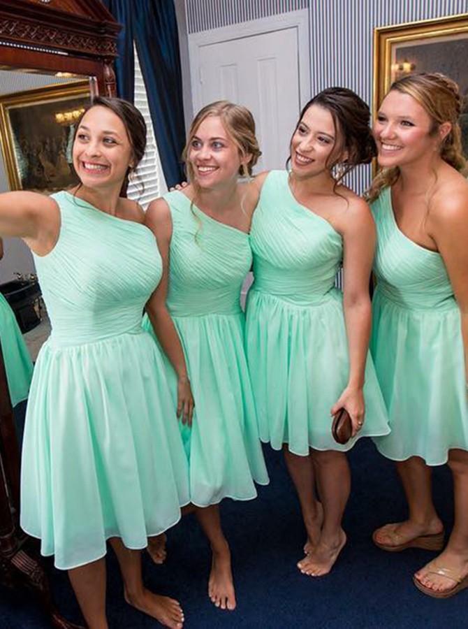 A-Line One-Shoulder Knee-Length Mint Chiffon Bridesmaid Dress with Ruched