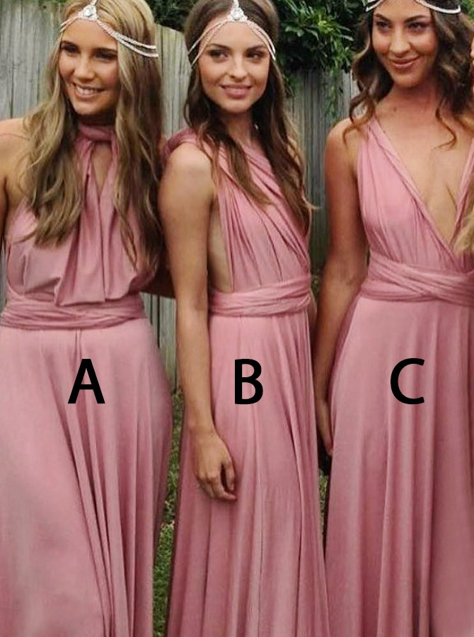 A-Line V-Neck Criss-Cross Straps Sweep Train Pink Convertible Bridesmaid Dress