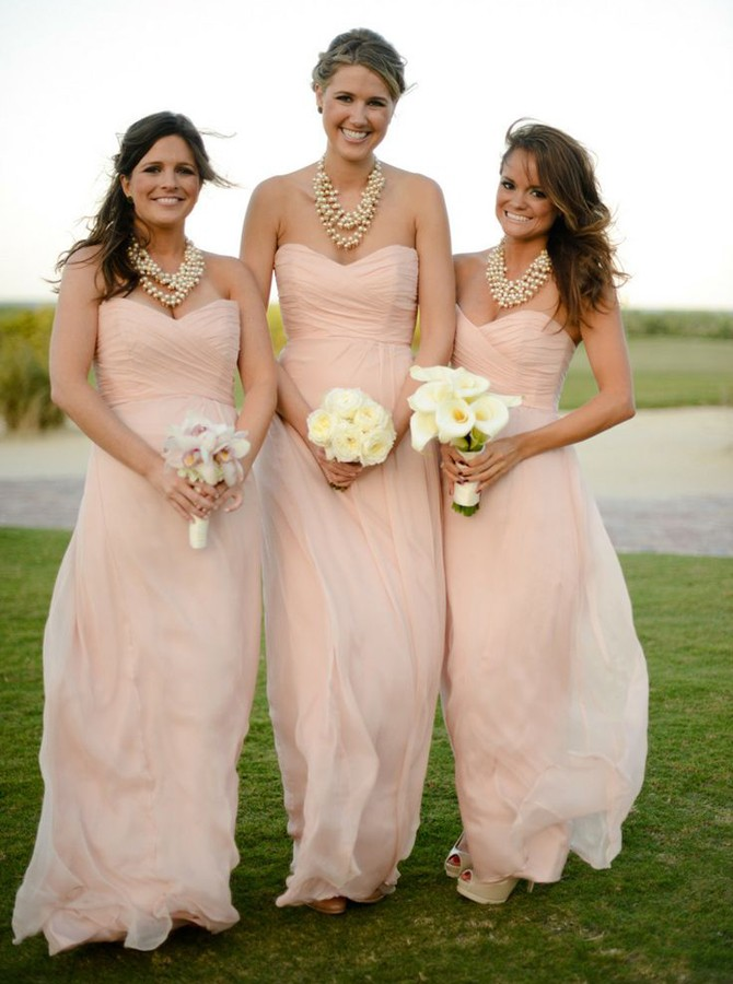 A-Line Sweetheart Floor-Length Pearl Pink Ruched Chiffon Bridesmaid Dress