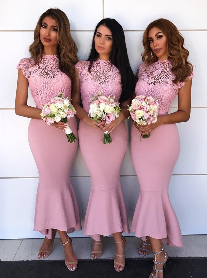Mermaid Jewel Cap Sleeves High Low Pink Bridesmaid Dress with Lace