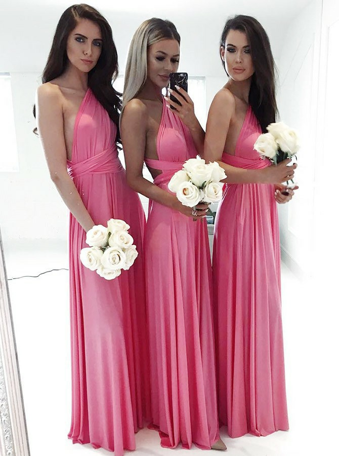 A-Line One-Shoulder Floor-Length Chiffon Bridesmaid Dress
