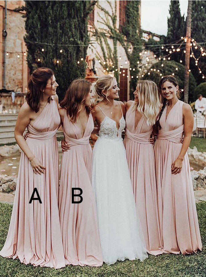 A-Line Convertible Floor-Length Bridesmaid Dress