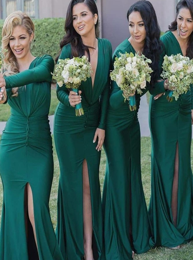 Mermaid V-Neck Long Sleeves Long Hunter Bridesmaid Dress