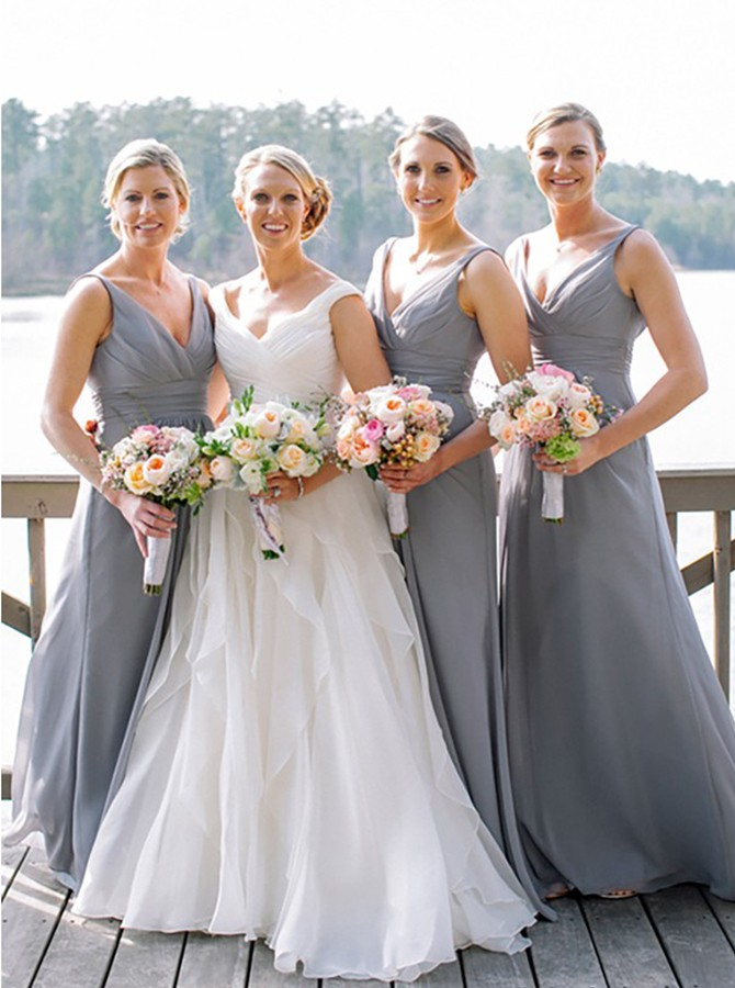 A-Line Deep V-Neck Floor-Length Sleeveless Grey Chiffon Bridesmaid Dress