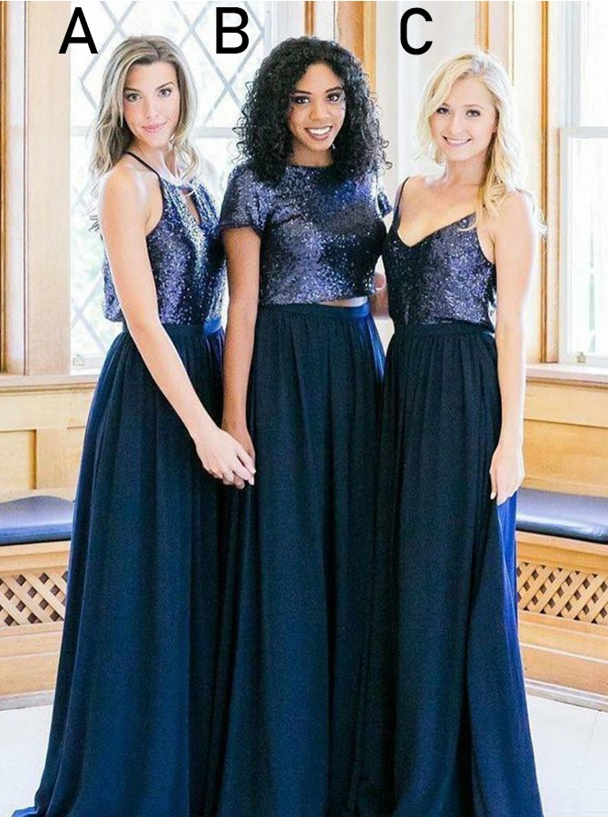 Two Piece Round Neck Sweep Train Bridesmaid Dress with Sequins