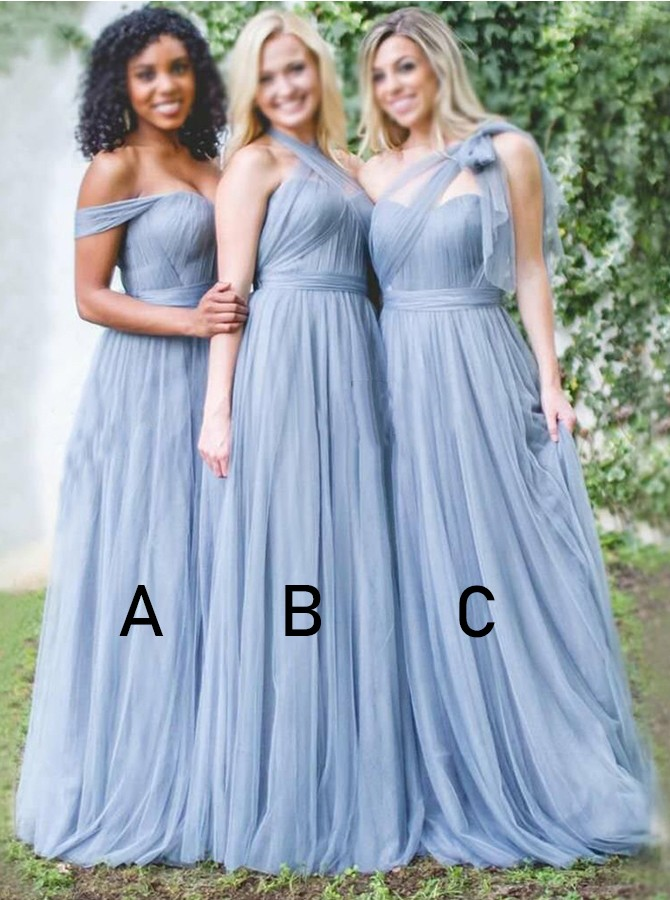 A-Line Convertible Floor-Length Tulle Bridesmaid Dress, Wedding Guest Dress