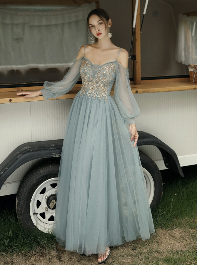 Elegant Cold Shoulder Long Sleeves Floor-Length Grey Bridesmaid Party Dress