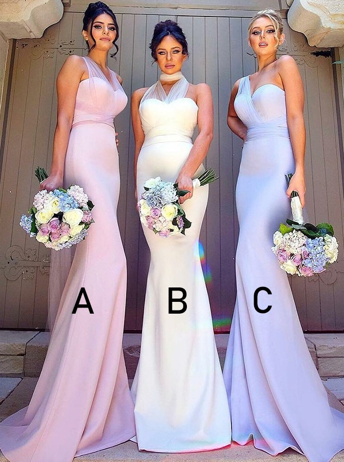 Mermaid V-Neck Sweep Train Pink Long Bridesmaid Dress