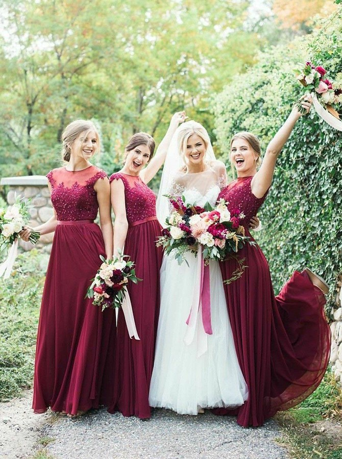 A-Line Round Neck Floor-Length Bridesmaid Dress with Beading Appliques