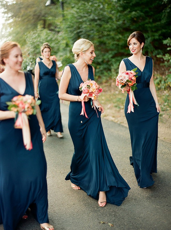 A-Line V-Neck Sweep Train Backless Navy Blue Bridesmaid Dress