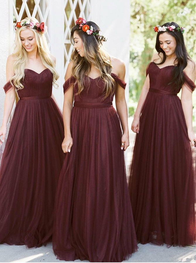 A-Line Off-the-Shoulder Floor-Length Burgundy Bridesmaid Dress