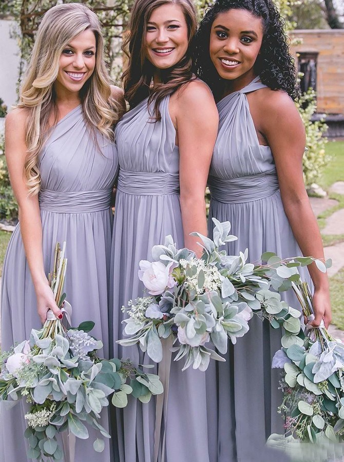 A-Line One-Shoulder Floor-Length Grey Chiffon Bridesmaid Dress