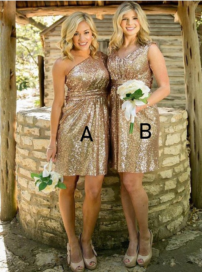A-Line One-Shoulder Short Gold Sequined Bridesmaid Dress