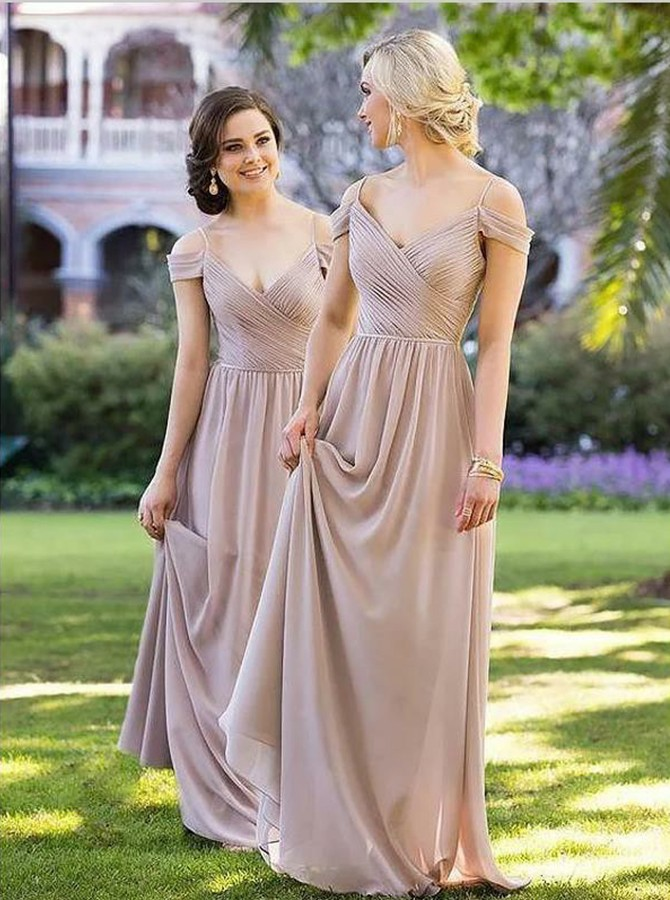 A-Line Cold Shoulder Sweep Train Chiffon Bridesmaid Dress