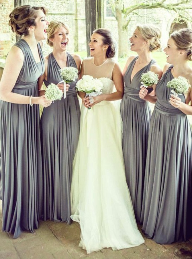 A-Line V-Neck Floor-Length Convertible Pleats Bridesmaid Dress