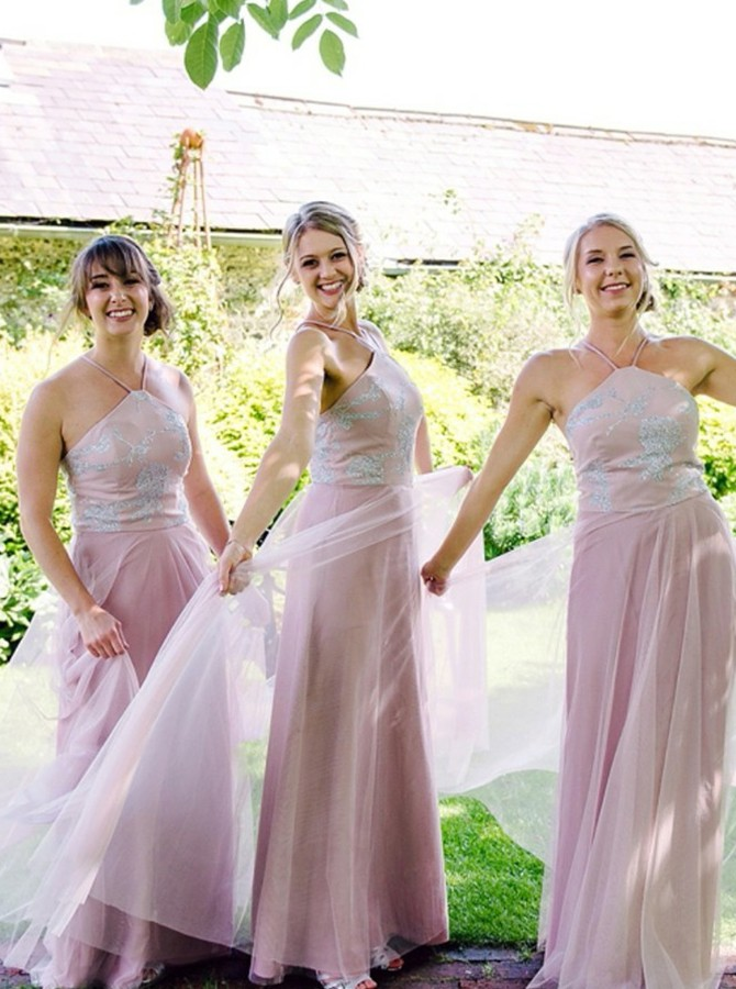 A-Line Halter Floor-Length Bridesmaid Dress with Appliques