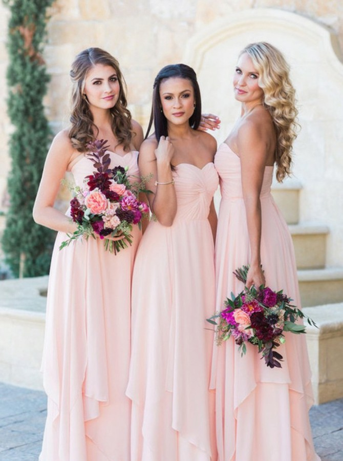 Sheath Sweetheart Floor-Length Bridesmaid Dress with Ruched Ruffles