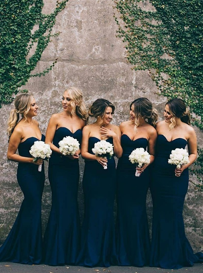 Mermaid Floor-Length Sweetheart Navy Blue Bridesmaid Dress