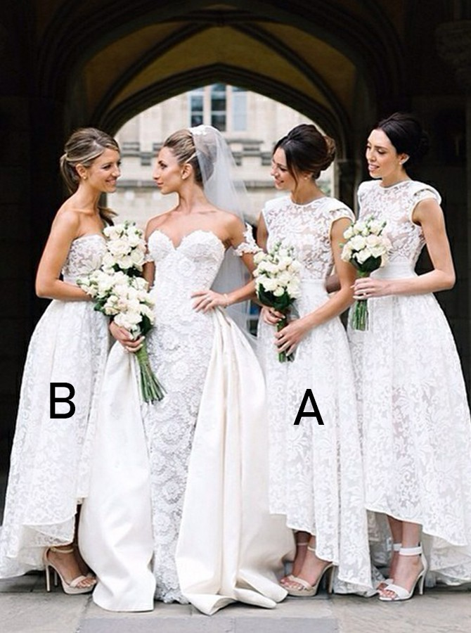 High Low A-Line Round Neck White Lace Bridesmaid Dress
