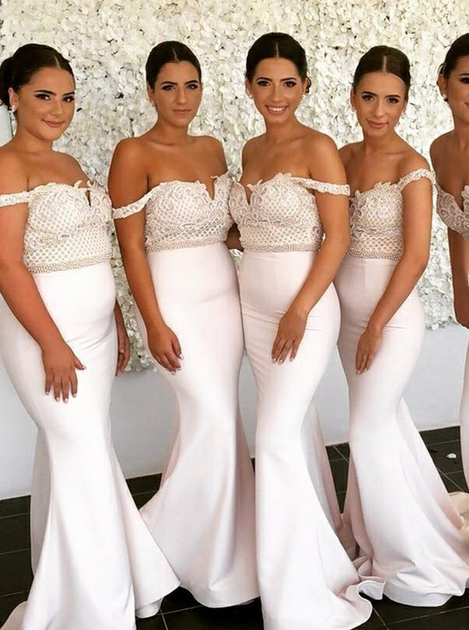 Mermaid Long Off-the-Shoulder Bridesmaid Dress with Lace Beading