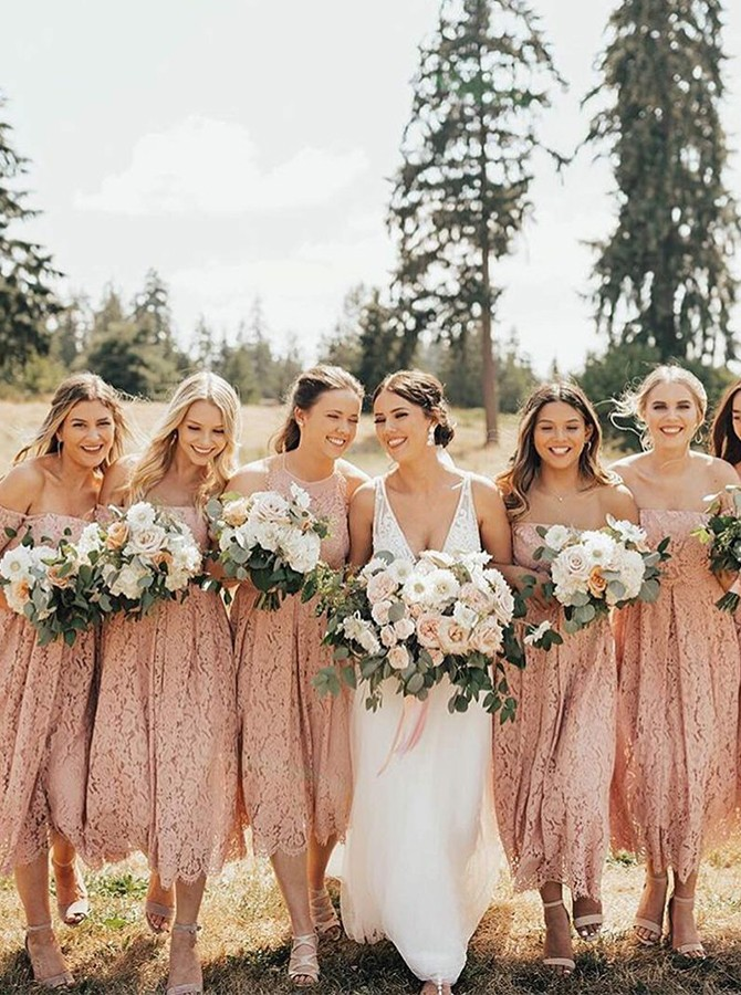 A-Line Tea-Length Off-the-Shoulder Pink Lace Bridesmaid Dress