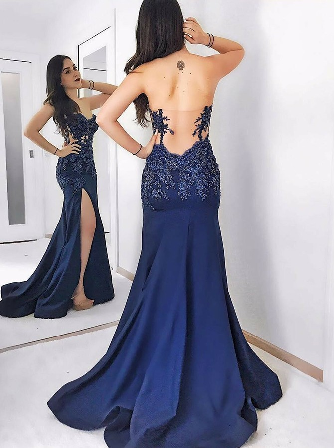 Mermaid Sweetheart Long Backless Prom Dress with Split Appliques