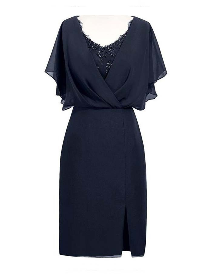 Sheath V-Neck Short Navy Blue Chiffon Mother of the Bride Dress with Beading