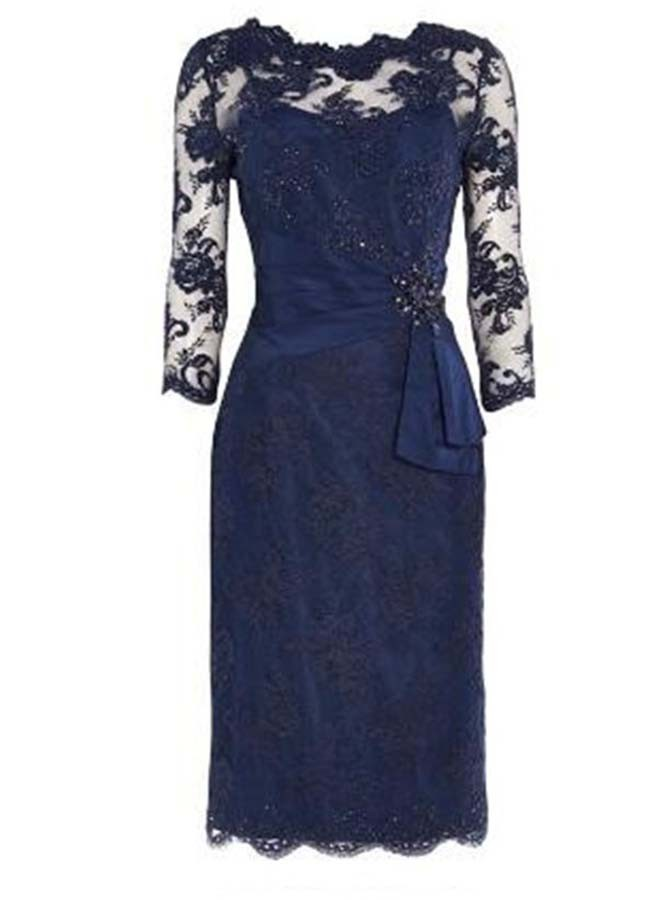 Sheath 3/4 Sleeves Navy Blue Lace Mother of The Bride Dress with Beading