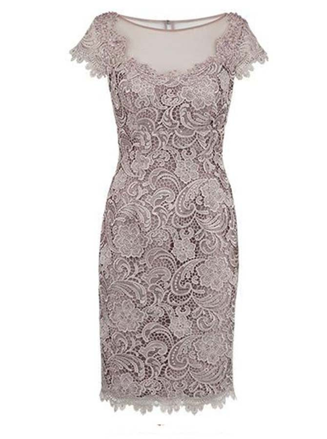 Sheath Bateau Cap Sleeves Grey Lace Short Mother of The Bride Dress