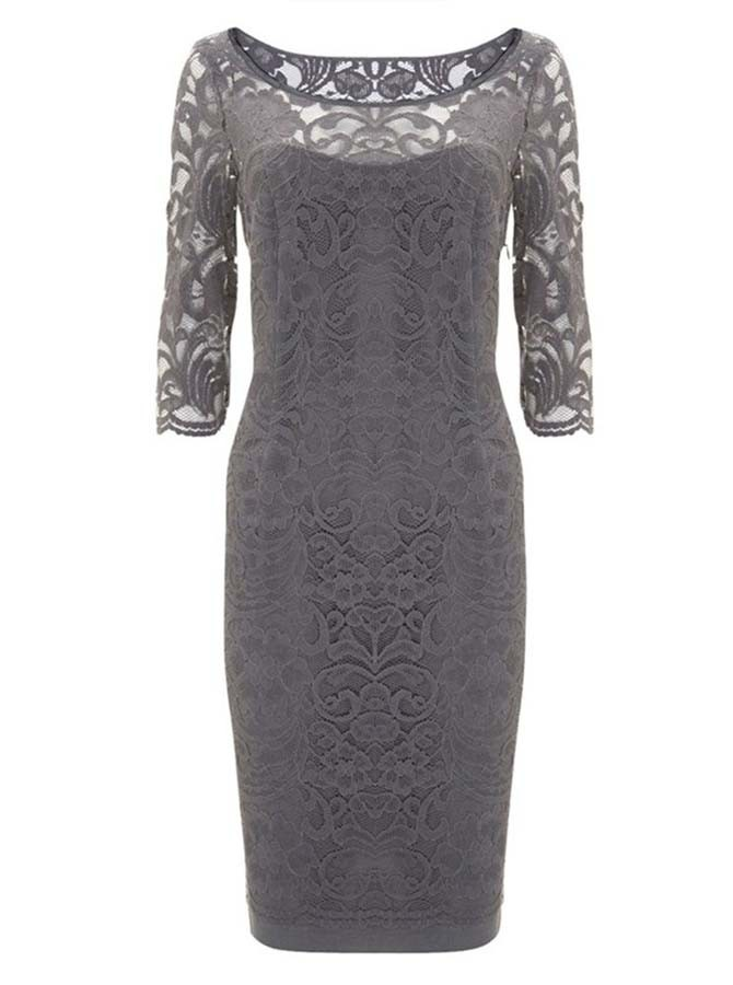 Sheath Bateau Half Sleeves Grey Lace Mother of The Bride Dress