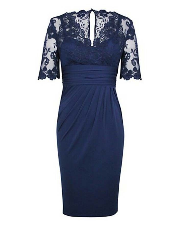 Sheath V-Neck Short Sleeves Dark Blue Mother of The Bride Dress with Lace