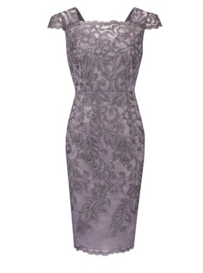 Bodycon Square Cap Sleeves Short Grey Lace Mother of The Bride Dress