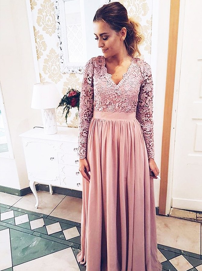A-Line V-Neck Floor-Length Long Sleeves Mother Of the Bride Dress with Lace