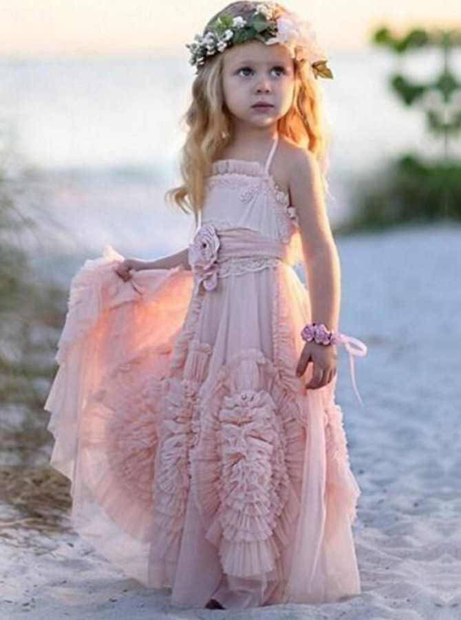 A-Line Spaghetti Straps Floor-Length Flower Girl Dress with Flowers