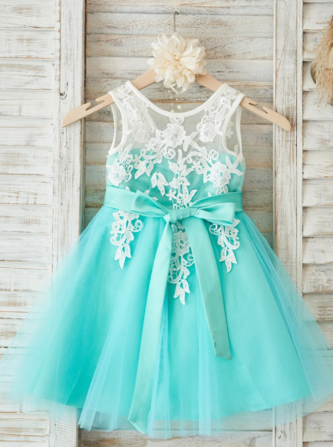 64f5bd032 A-Line Round Neck Mint Tulle Flower Girl Dress with Appliques ...