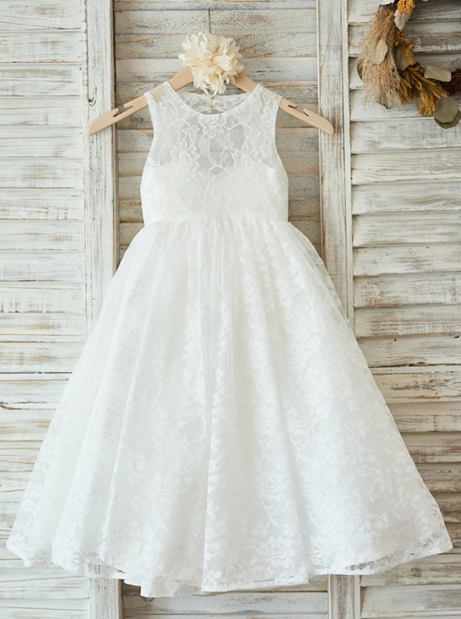 A-Line Jewel Open Back White Lace Flower Girl Dress