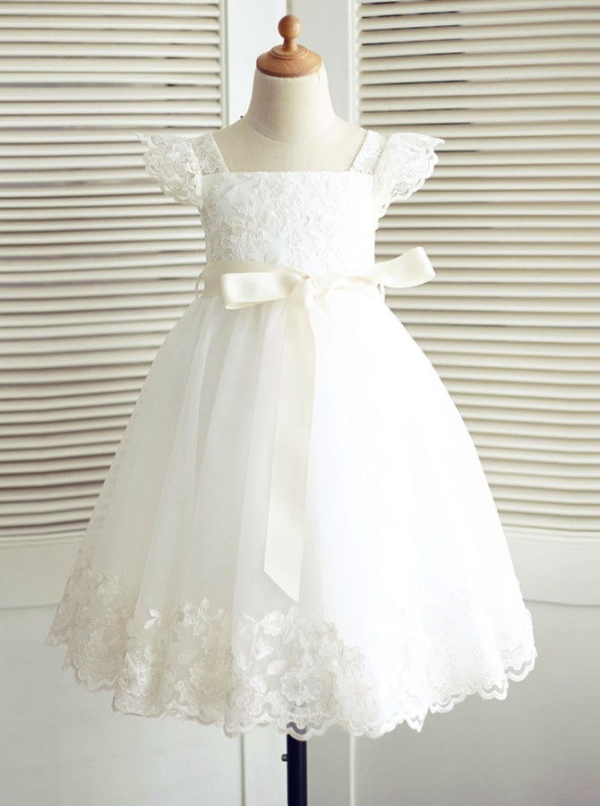 A-Line Square Neck Cap Sleeves White Flower Girl Dress with Appliques